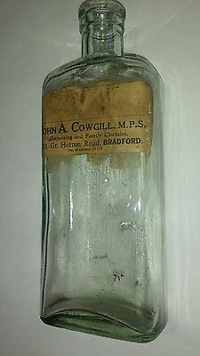 Antique Collectable Medicine Bottle Embossed  John Cowgill Bradford