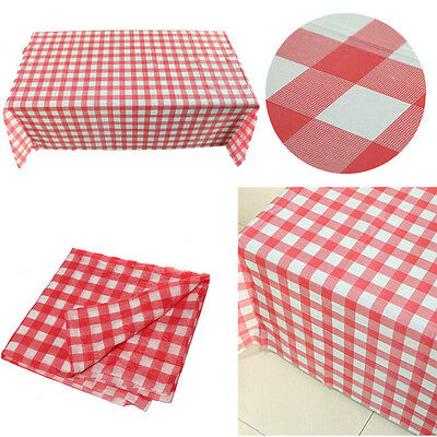 Red Gingham Plastic Disposable Wipe Check Tablecloth Party Outdoor Picnic MO