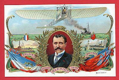 Vintage Cigar label Bleriot  Calais to Dover crossing 1909 Gold art Aviation