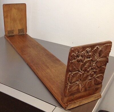 Vintage Wooden carved folding Desk / Table Book Shelf Stand RUSTIC SHABBY CHIC