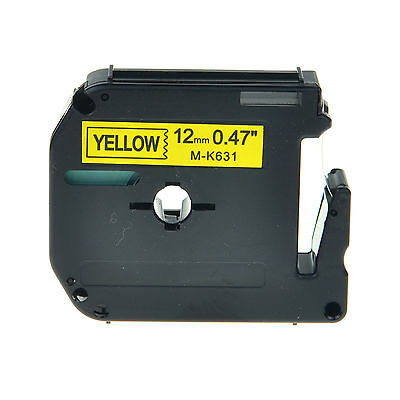 1PK MK631 MK-631 Black On Yellow Label Tape For Brother P-Touch PT-70BM 12mm