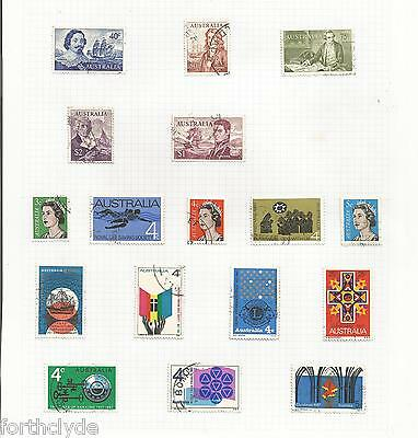 Australia 1966-73 Stamps Mounted To Album Page Used  Ref 769