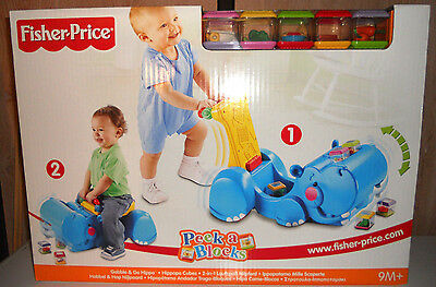 Fisher Price Hippopotame Trotteur Peek a Block NEUF