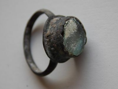 Ancient Medieval Bronze Finger Ring With Turquoise Inlay