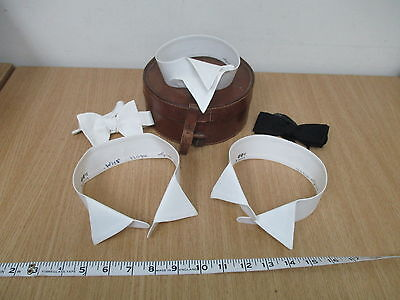 "Lot of 3 Majestic 15.5"" Wing Tip White Dress Shirt Collars + 2 Bowties in Case"