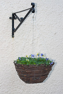 Hanging basket ropes alternative to chains giving 'floating basket' effect.