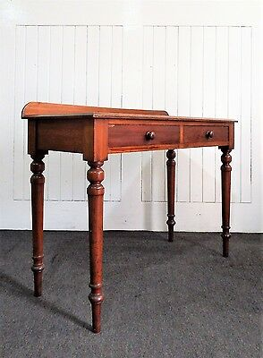Antique Victorian mahogany 2 drawer console hall table / desk / dressing table