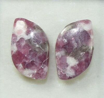 Pair  29.25  Cts. 100 % Natural Lepidolite Untreated  Fancy Cab Loose Gemstones