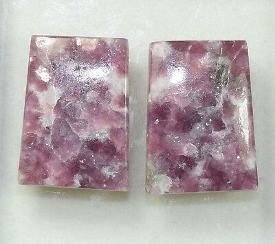 Pair  38.85  Cts. 100 % Natural Lepidolite Untreated  Fancy Cab Loose Gemstones