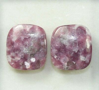 Pair  32.90 Cts. 100 % Natural Lepidolite Untreated Cushion Cab Loose Gemstones