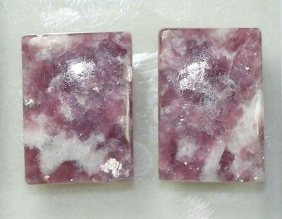 Pair  37.45 Cts. 100 % Natural Lepidolite Untreated Cushion Cab Loose Gemstones