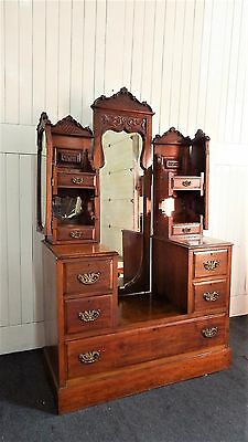 Antique Victorian carved walnut wing mirror drop centre dressing table