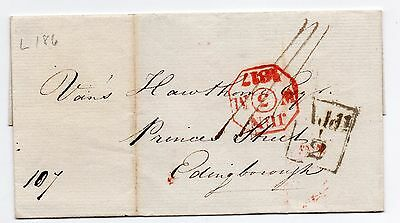 1817 wrapper only London to Edinburgh with Add 1/2d wheel tax  & other pmk's.
