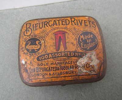 Vintage 'Bifurcated Rivets' Tin with some Rivets