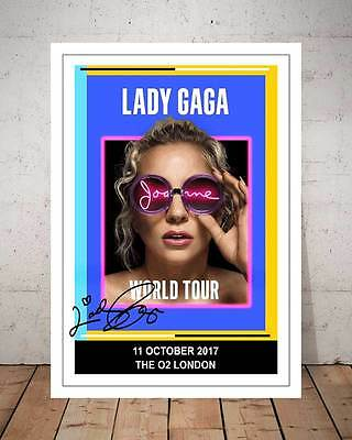 Lady Gaga O2 London 11Th Oct 2017 Concert Flyer Autographed Photo Print