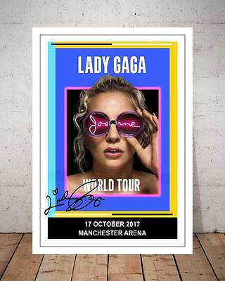 Lady Gaga Manchester Arena 17Th Oct 2017 Concert Flyer Autographed Photo Print