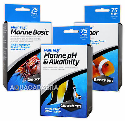 Seachem Multi Tests 75 Test Kits Marine Reef Freshwater Aquarium Fish Tank