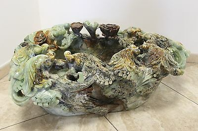 Rare Green Jade Handcarved Fish Bowl | Tank | Pot Jar | Carving | Aquarium Stone