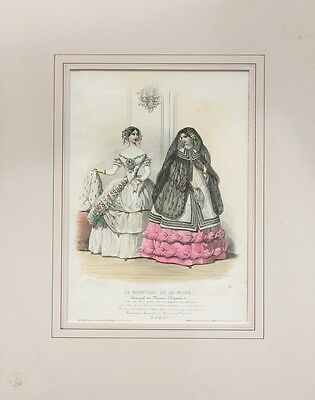 7 Large French Victorian Colour Fashion Prints, Costume, Style, Mounted