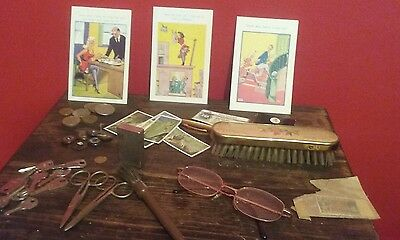 joblot of collectables vintage Japanese lighter specs coins vintage pen and more