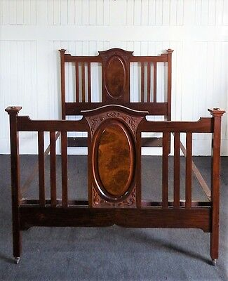 Antique carved walnut Victorian double bed