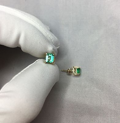 NATURAL Colombian Emerald Gold Earrings 1.00ct 5mm 14k Gold Studs RARE Top Grade