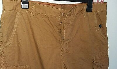 Mens shorts 38 Cargo style button Fly Brown