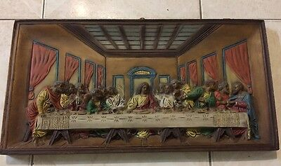 Vintage Italian Poly Resin Religious 3D Picture The Last Supper