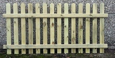 120cm (4ft) tall x 1.8m (6ft) Picket Garden Fence Panel hand built treated wood