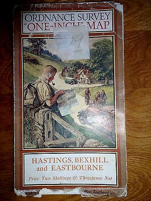 O.s. Map Hastings,bexhill & Eastbourne / 1928