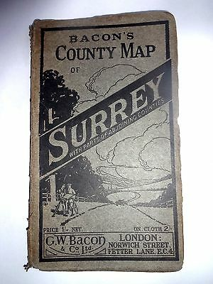 Map - Bacon's Map Of Surrey / On  Linen /  Cycling Routes /
