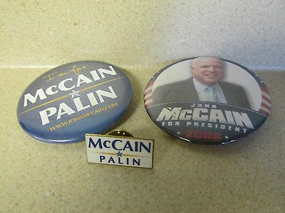 LOT OF 2 1984 Presidential Candidates McCAIN PALIN Button & Pin!