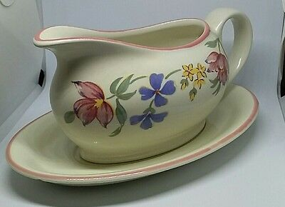 Vintage gravy boat and plate Staffordshire tableware chelsea floral flowers