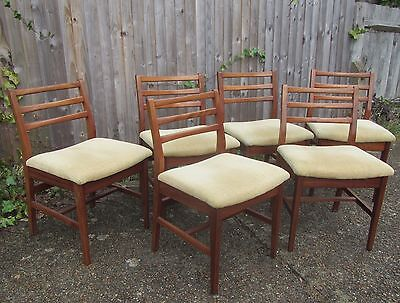 6 Vintage 1970s Teak Dining Chairs with upholstered Seats