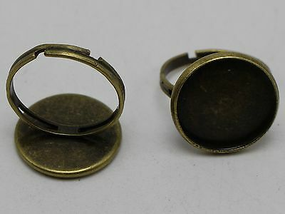 20 Bronze Tone Adjustable Ring Round Blank Setting Cabochon GLUE ON Pad 16mm