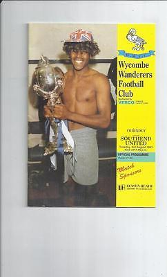 Wycombe Wanderers v Southend United Friendly Football Programme 1993/94