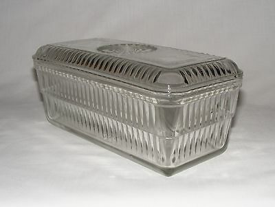 Vtg 1930's CLEAR DEPRESSION GLASS HOOSIER LIDDED REFRIGERATOR BUTTER DISH BOX