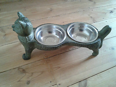 Cast Iron Cat Feeder with Dishes *Vintage Style*