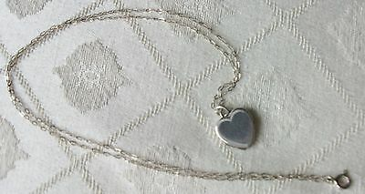 Vintage Silver Hinged Heart Locket And Silver Chain
