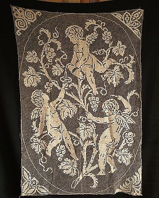 Rideau ancien fait main filet 3 anges French antique hand made 3 angels curtain