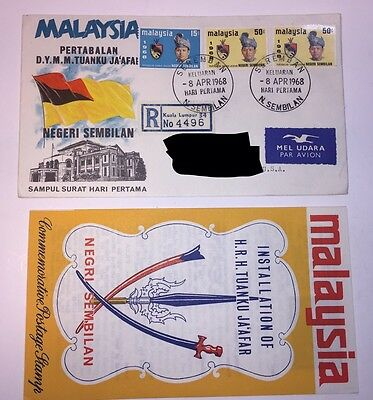 Vintage Malaysia Postage Stamps On Envelope With Brochure/