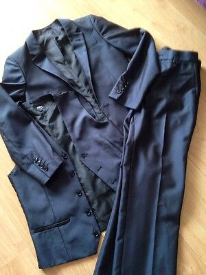 Boys Dark Teal 3 Piece  Suit Age 11  Worn Once