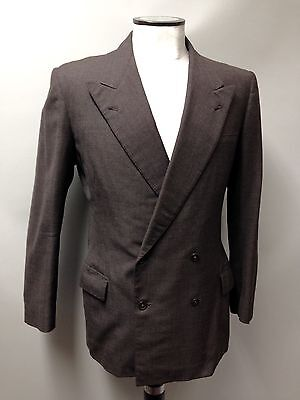 "1940s Men's Vintage Suit Jacket Tailored 2x4 Double Breasted Brown Wool 42"" Reg"