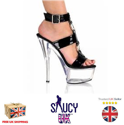 Penelope Black Playform Shoes - Stilettos - Heels - UK Seller