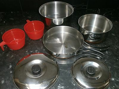 5 Piece Copper Based Camping Pan Set, 2 Pans, Frying Pan And Lids