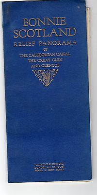 Vintage Relief Panorama Caledonian Canal Great Glen Glencoe Map Valentine's