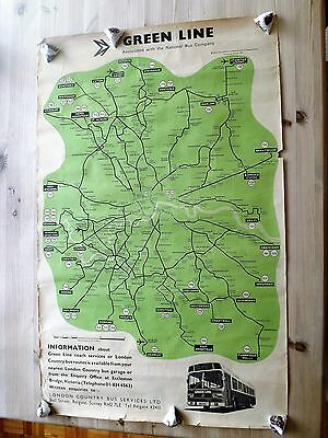 1974 London Country Ltd GREENLINE route map 102x64 cm + Bus Timetables advert