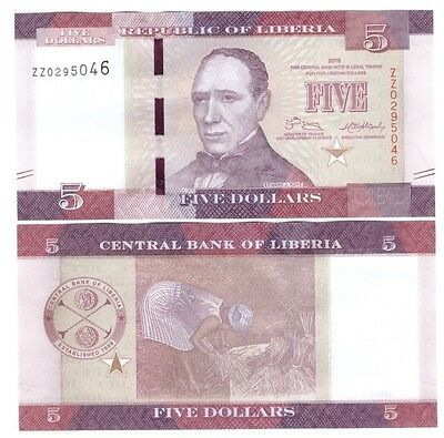 Liberia 2016 5 Dollar Banknote Replacement Unc Zz