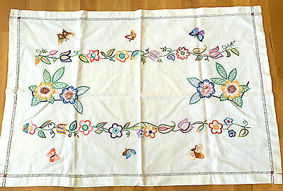 Amazing Vintage Hand Embroidered Butterflies/Flowers Table Cloth
