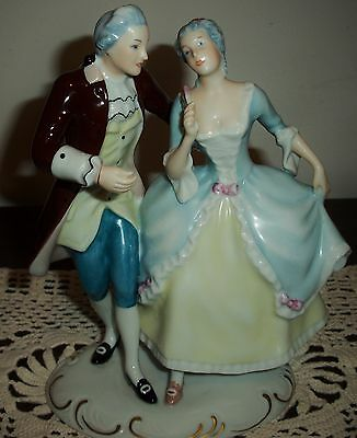 Royal Dux Victorian Figurine Man Woman E mark triangle Pre 1918 Czechoslovakia
